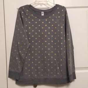 Old Navy Sweatshirt Gray with Gold Polka Dots